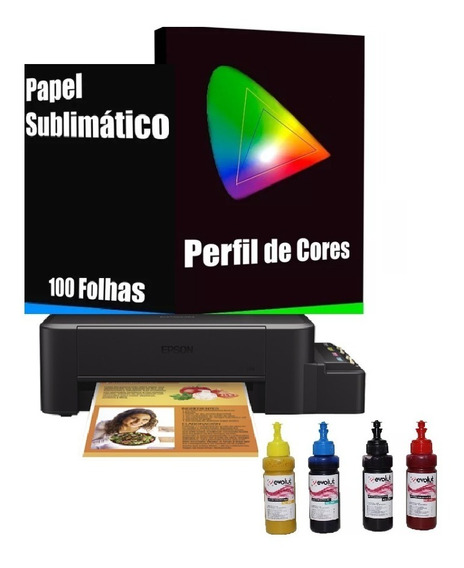 Impressora Sublimatica Epson L120 +4 Refi 100ml + 100 Fls T