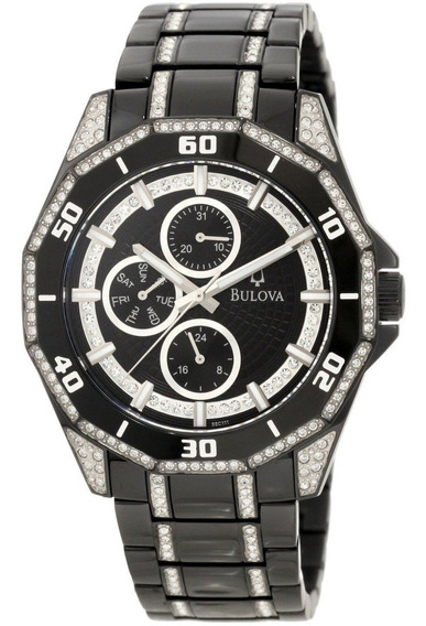 Reloj Hombre Bulova Cristal Multifunción Acero Negro 98c111