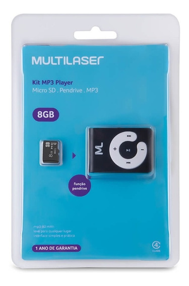 Mp3 Player Multilaser + Cartão Micro Sd 8gb
