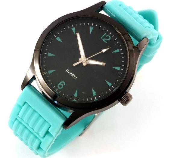 Relógio Unissex Quartz Pulseira Verde De Borracha B5634