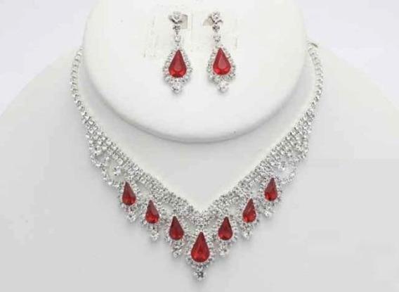 Collar Con Arete Hornamentado Rojo Cafu449-05 A20