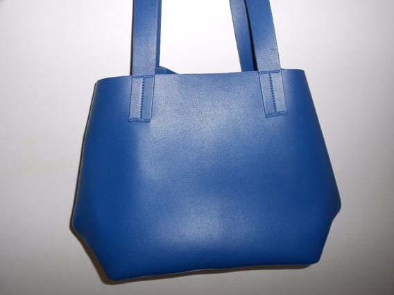 Cartera Simil Cuero Isadora Azul Marino Preciosa!! Impecable