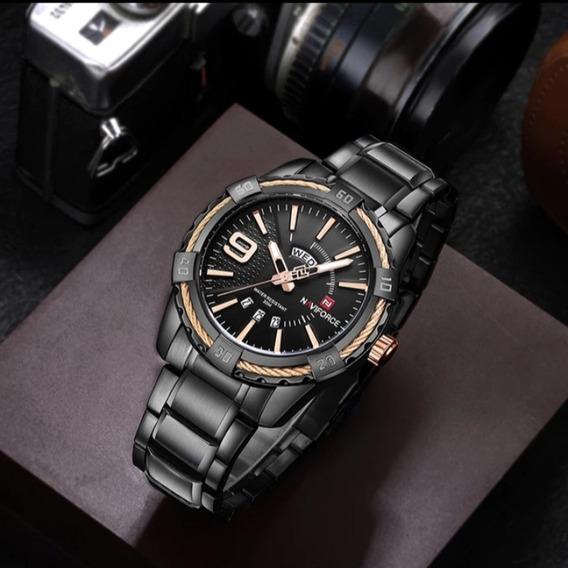 Relógio Pulso De Luxo Naviforce 9117 Masculino Preto