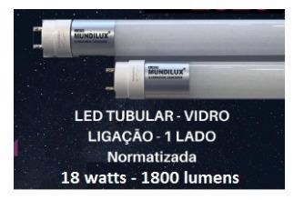 Lâmpada Led Tubolar T8 18w 6500k 120cm Vidro Leitoso 1800lm