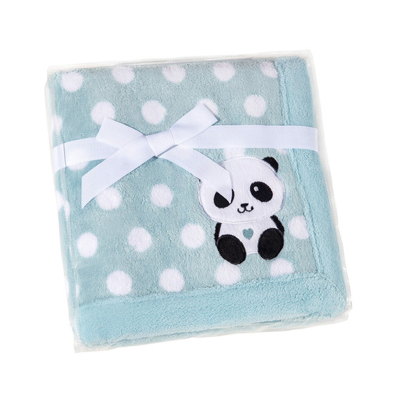 Manta Poliester Bebe Raposa Panda Elefante Azul