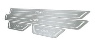 Soleira De Porta Personalizada Gm Onix Em Aco Inox Escovado