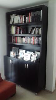Librero Madera Negro Mueble Cantina Sala Oficina Comedor