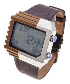 Reloj Diesel Hombre 6409 014 Digital Acero Cuero Sumergible