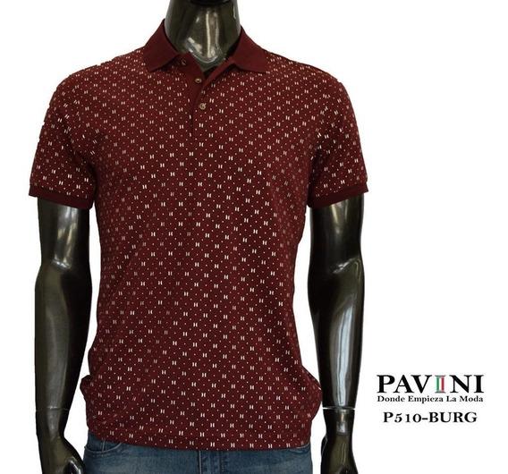 Playera Para Hombre Marca Pavini Vino Tinto P510 Original