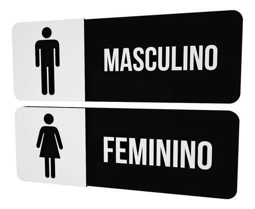 Imagem 1 de 2 de Placa Sinalização Preta Banheiro Feminino Masculino Clinica