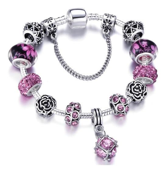 Pulseira Estilo Pandora Bracelete Berloque Banho Prata 925