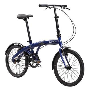 Bicicleta Dobrável Azul Aro 20 Quadro De Aço Eco Durba