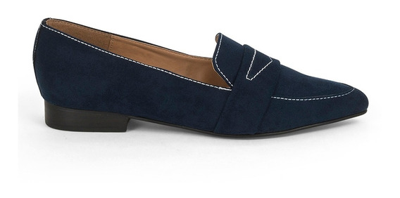 Flats Zapatos Dama Azul Costura De Piso 9100