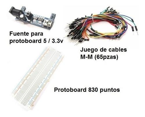 Imagen 1 de 1 de Kit Protoboard, 65 Cables M-m Y Fuente De Alimentación Usb