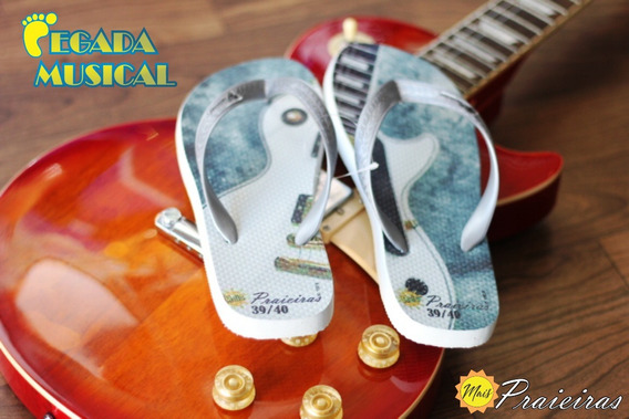 Chinelo Mais Praieiras - Presente Musical Guitarra Lp 39/40
