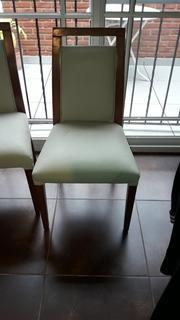 Sillas De Madera Cuero Ecologico C/detalles No En Tapizado
