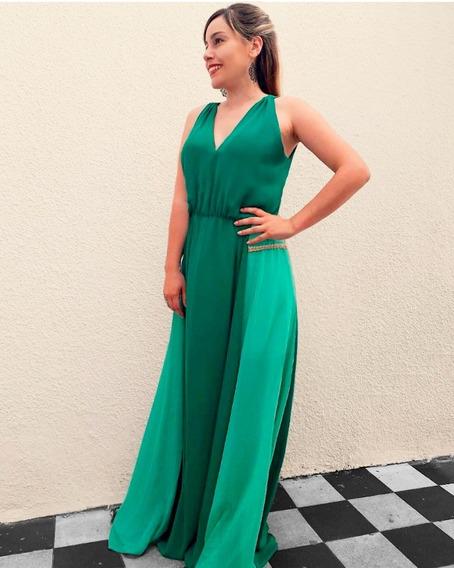 Vestido Largo Gasa Fiesta Coral Verde