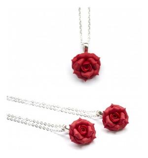 Collar Plata 925 Dije Flor Rosa, Color A Elección, Regalo