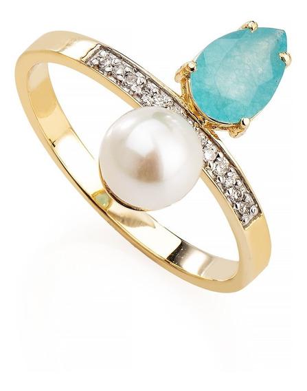 Anel De Ouro 18k Jade Paraíba, Pérola E Diamantes An35739
