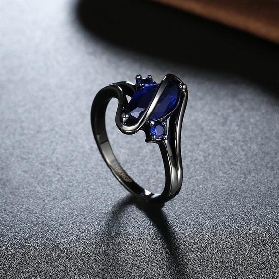 Anel Vazado Serpente Negra Ouro 18k Cristal Feminino