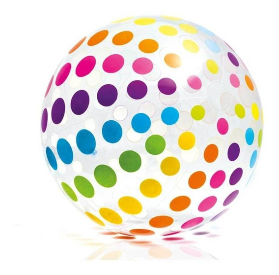 Pelota Playera Inflable Gigante 107 Cm Puntos Colores Intex