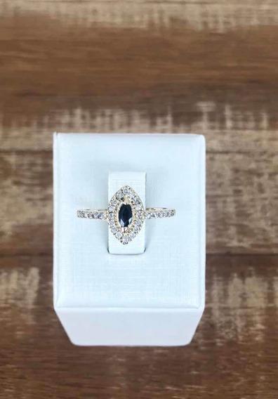 Anel Safira E Diamantes Ouro 18k E Brilhantes