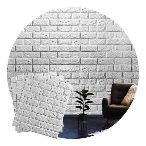 Imagem 1 de 6 de Adesivo Parede 3d Papel De Parede Tijolo Branco Casa Decorar