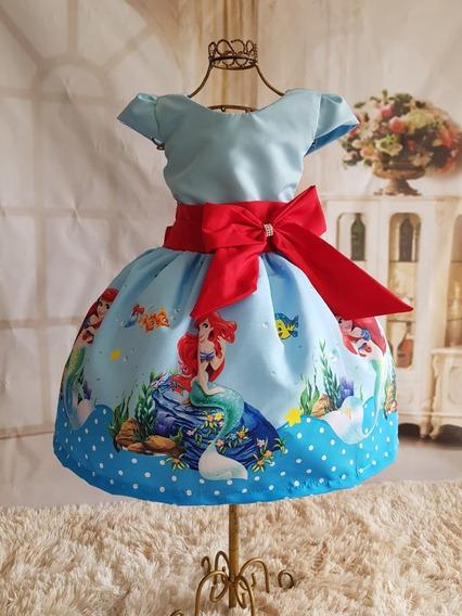 Vestido Infantil Tematico Pequena Sereia/ariel