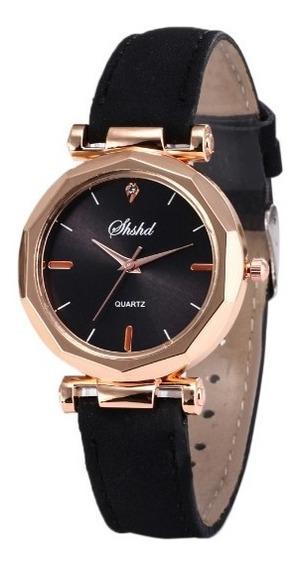 Relógio Dourado Bowake De Luxo Pulseira Couro Black Friday