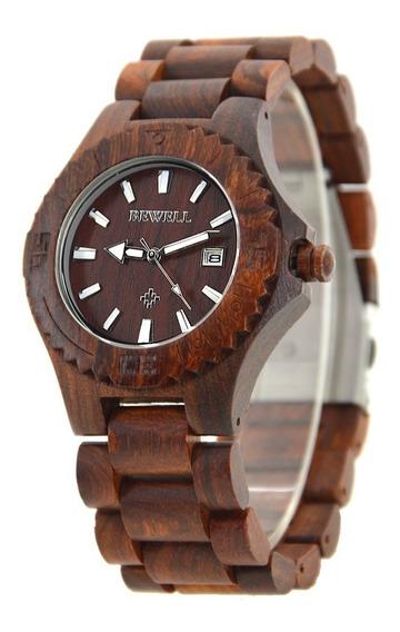 Relógio Madeira Bewell Original Bege E Marrom Avermelhado