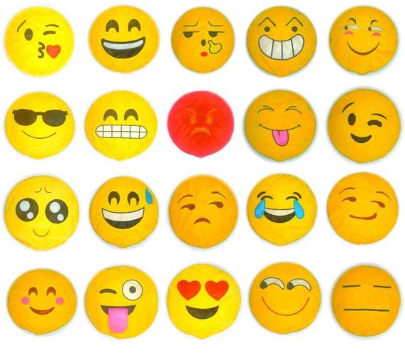 Kit 20 - Almofadas De Pelúcia Emotions Emoji Vazias 30cm