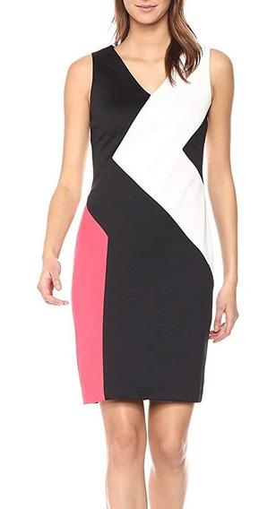 Vestido Social Calvin Klein Recortes Assimetricos Tubinho M8
