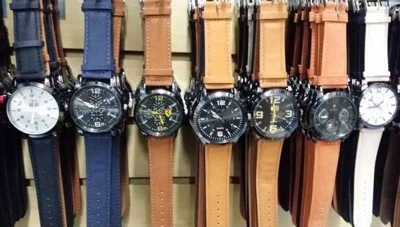 Kit Com 10 Relógios Masculino Pulseira De Couro Revenda Top