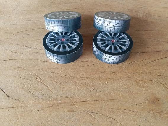 Miniatura Rodas Para Carrinho 1/18 Brinquedo Artesanal4 Unid