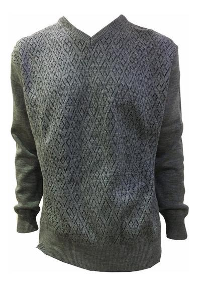 Suéter Azul Marino De Hombre Cuello V Y Figuras