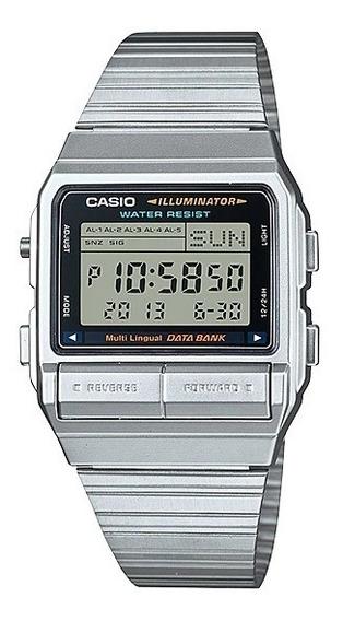 Relógio Casio Vintage Data Bank Digital Db-380-1df Prata