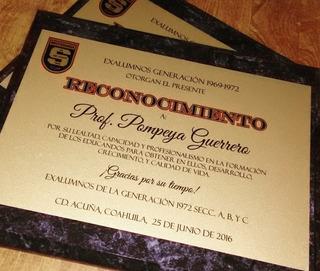 Reconocimiento Diploma Placa De Aluminio Sublimada Con Base