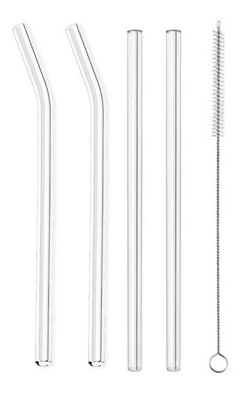 4 Canudo Vidro Reutilizável Reto Curvo Canudos + 1 Escovinha