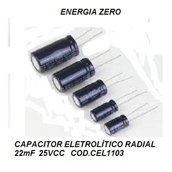 Capacitor Eletrolítico Radial 22mf 25v Cod.cel1103 Frete Cr