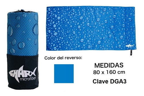 Imagen 1 de 7 de Toalla Microfibra Sharx* 80x160cm Gotas Azules Envío Gratis