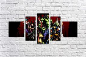 Quadro Decorativo X Men Desenho Quadrinhos Decorar 5 Peças