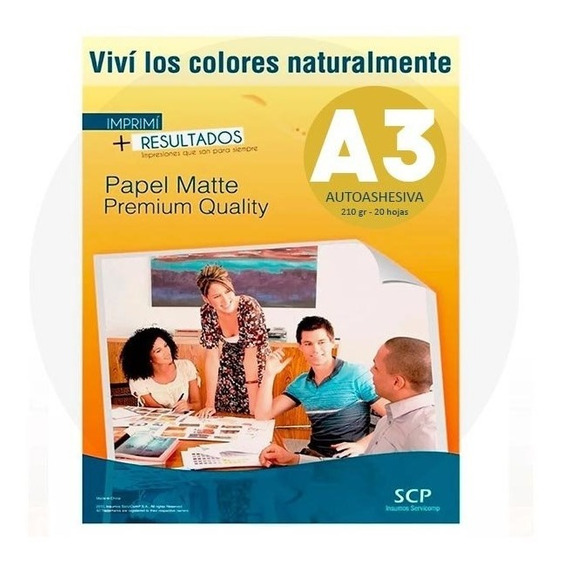 Resma Papel A3 Mate Autoadhesivo 210 Gr X 100 Hojas - Scp