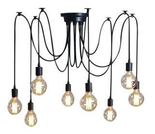 Lampara Vintage De Techo Araña Colgante Edison Para 8 Focos