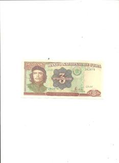 Cuba: Tres Pesos Cubano Año 1995 Che ¡excelente!