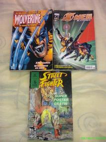 *jl Lote De 3 Gibis Wolverine, Street Fighter, X-men Usados*