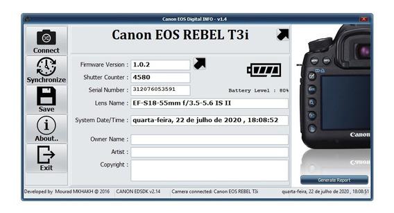 Câmera Canon Eos Rebel T3i - 4.580 Clicks
