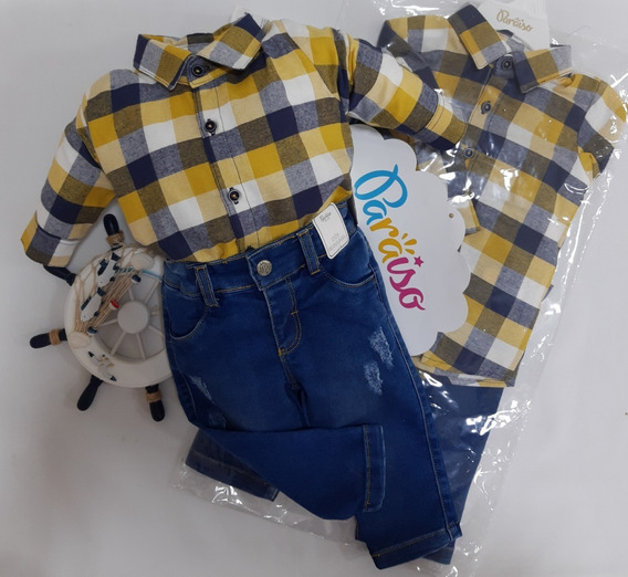 Conjunto Luxo Paraiso Bebe Menino Camisa + Jeans Ref 8020