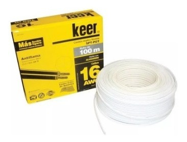 Cable Pot Duplex Calibre 16 Blanco 100 Metros Keer