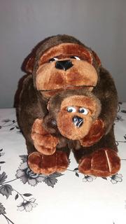 Peluche Muñeco Mono Con Monito Hijo Gorila