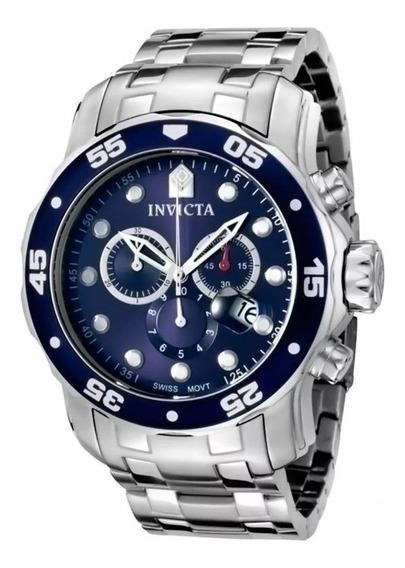 Relógio Pro Diver 0070 Prata Com Fundo Azul